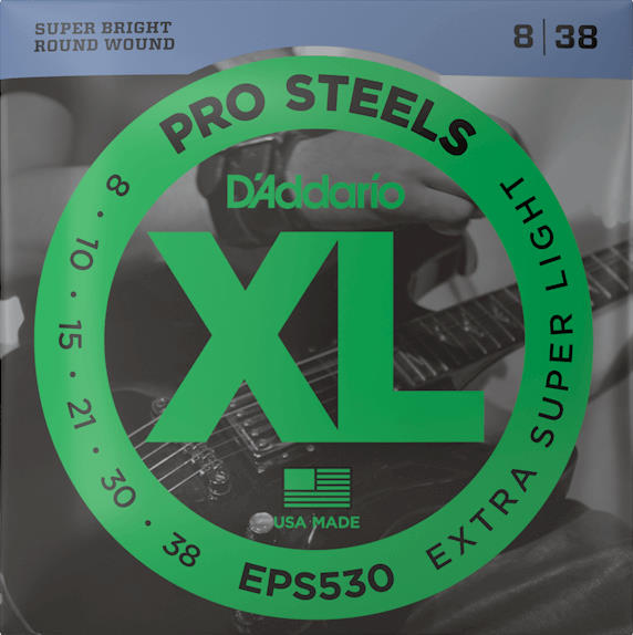 D'Addario EPS530 XL ProSteels - Electric Guitar Strings (Extra Super Light Gauge)