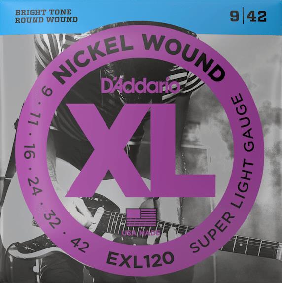 D'Addario EXL120 Nickel Wound Electric Guitar Strings (Super Light Gauge)