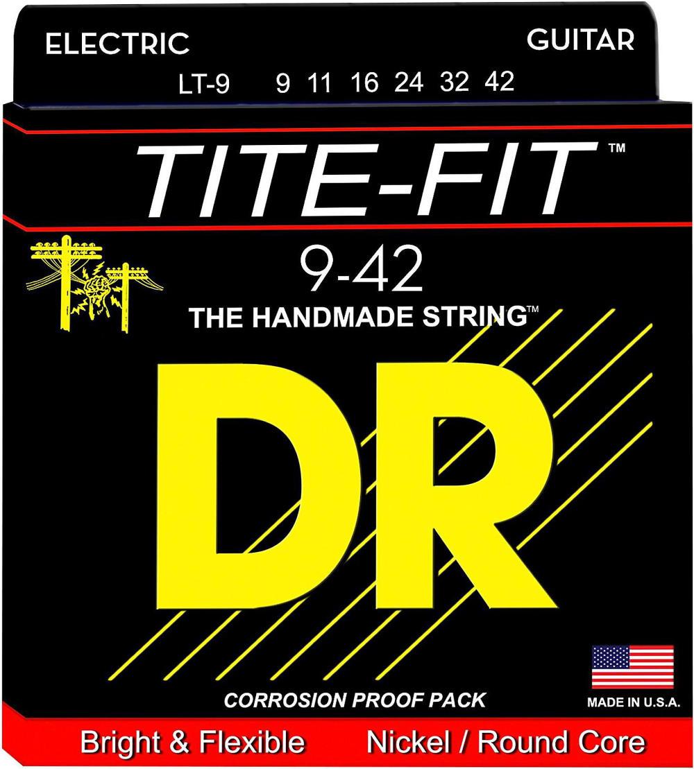 DR Strings LT-9 Tite-Fit Compression Wound Electric Guitar Strings (Super Light Gauge)