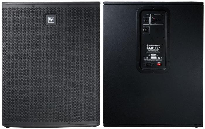"""Electro-Voice ELX118P 18"""" 700W Powered Subwoofer - front and back views"""