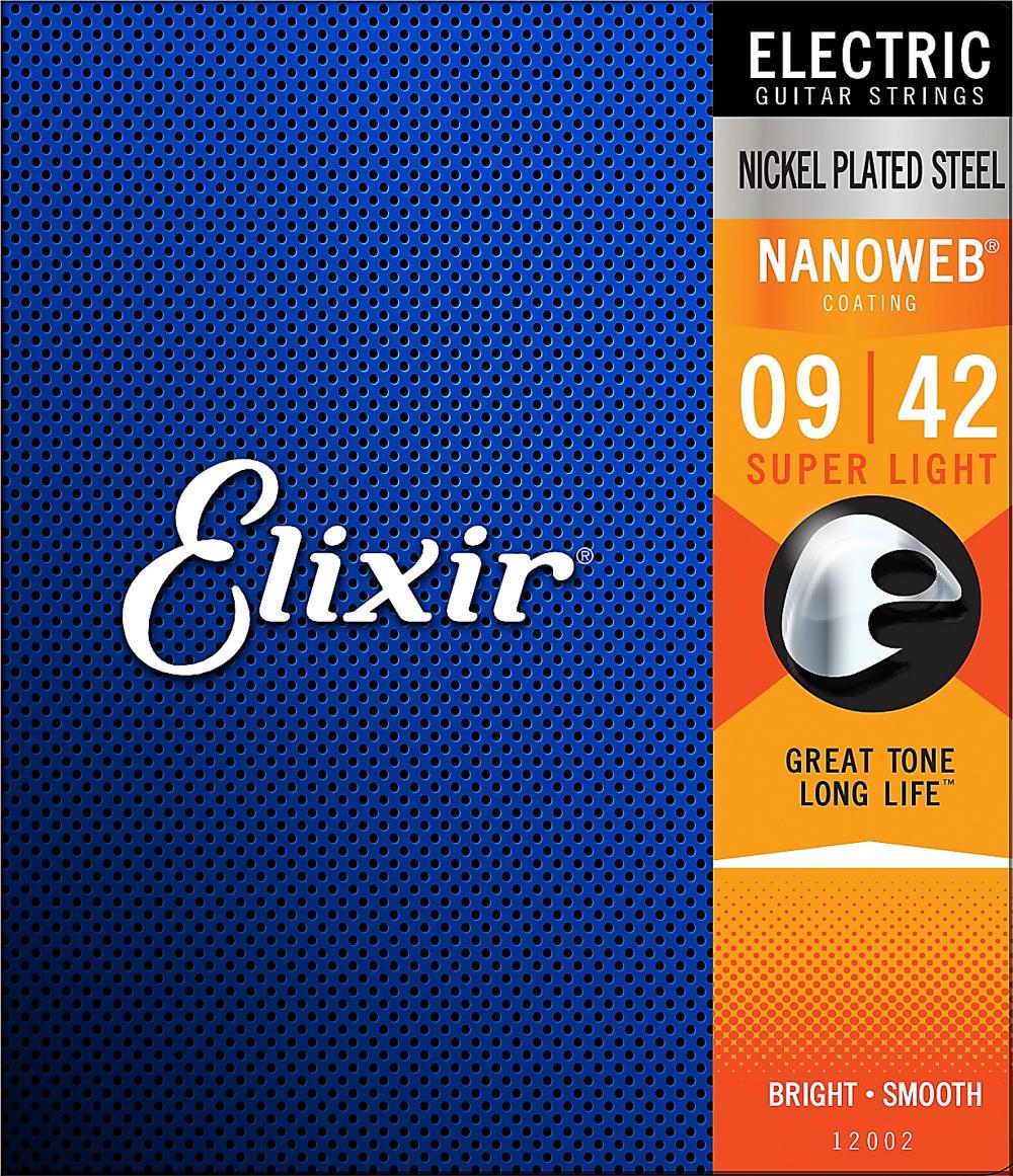 Elixir Strings 12002 Nanoweb Electric Guitar Strings (Super Light Gauge)
