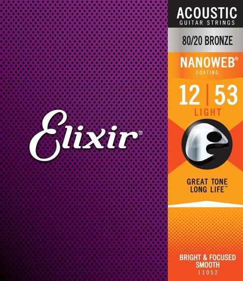 Elixir Strings Nanoweb 80/20 Light Acoustic Guitar Strings