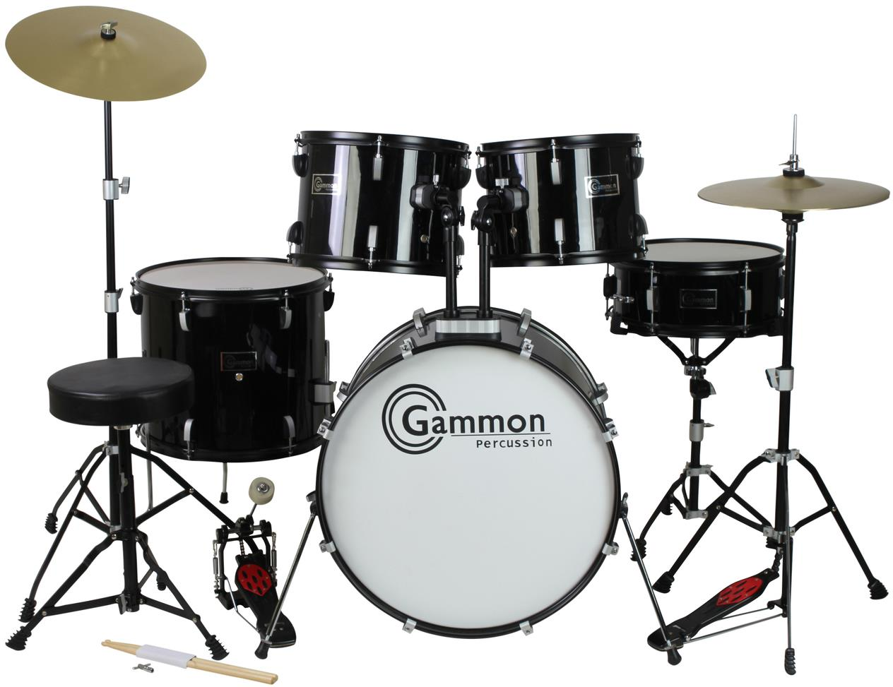 Gammon Percussion SP5 Acoustic 5 Piece Drum Set - Black