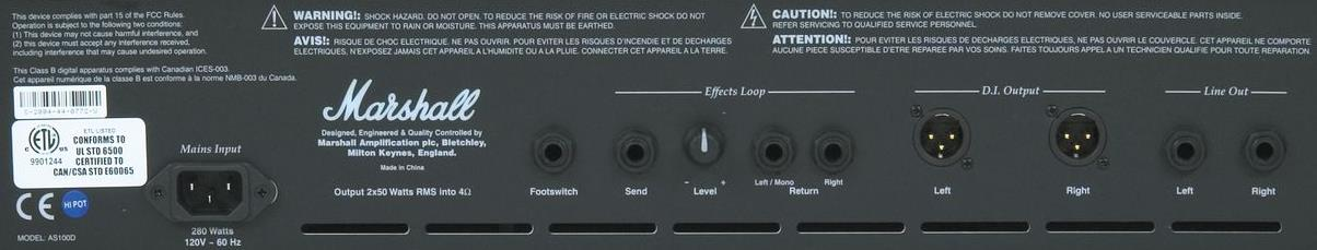 Marshall AS100D Rear Panel