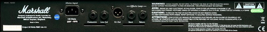 Marshall AS50D Rear Panel