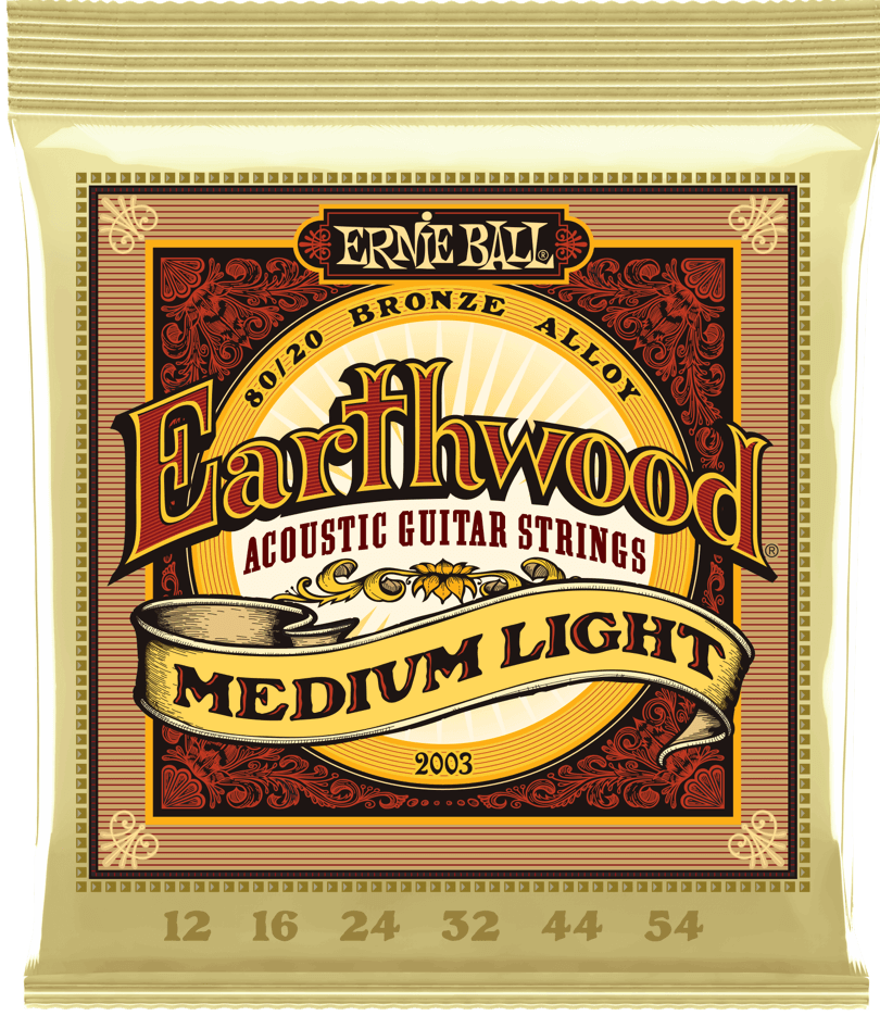 Ernie Ball 2003 Earthwood 80/20 Bronze Medium Light Acoustic Guitar Strings