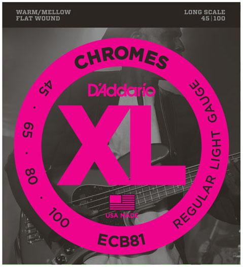D'Addario ECB81 XL Chromes Flatwound Bass Guitar Strings