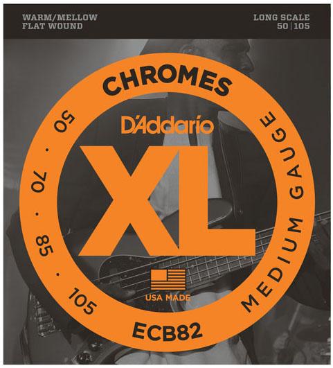 D'Addario ECB82 Chromes Flatwound Medium Bass Guitar Strings