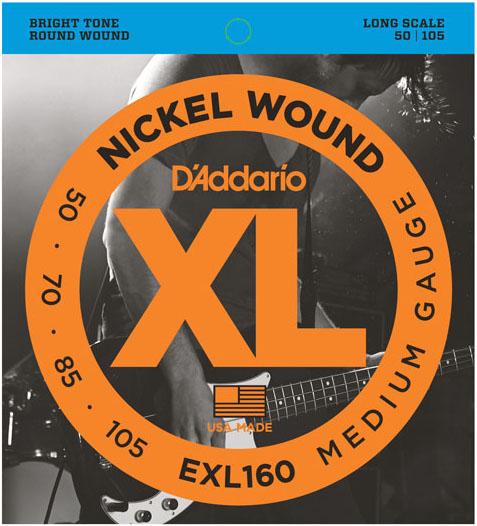 D'Addario EXL160 Gauge Nickel Wound Electric Bass Guitar Strings