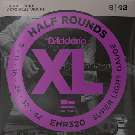 D'Addario EHR320 Half Rounds Electric Guitar Strings (Super Light Gauge)