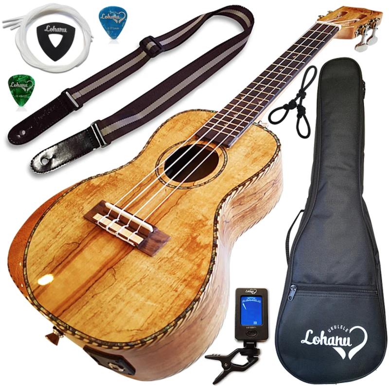 Lohanu Spalted Maple Acoustic-Electric Ukulele Concert