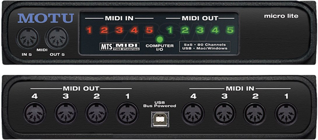 MOTU micro lite — 5x5 USB MIDI interface