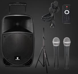 PRORECK FREEDOM 15 Portable 15-Inch 800 Watt 2-Way Battery Powered PA Speaker System