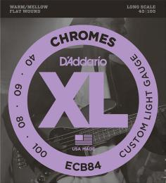 D'Addario ECB84 Chromes Flat Wound Custom Light Electric Bass Guitar Strings