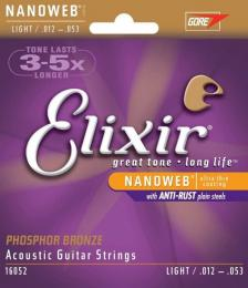 Elixir Strings Nanoweb Phosphor Bronze Light Acoustic Guitar Strings
