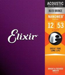Elixir Strings Nanoweb 80/20 Light Acoustic Guitar Strings