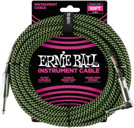 Ernie Ball Braided Straight to Right Angle Instrument Cable 10'