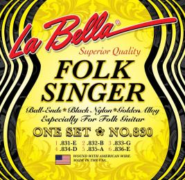 La Bella 830 Folksinger Black Nylon Guitar Strings