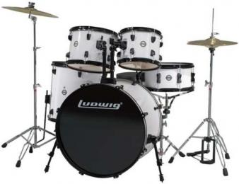 Ludwig LC175 Accent Drive 5-Piece Drum Set - Black & White