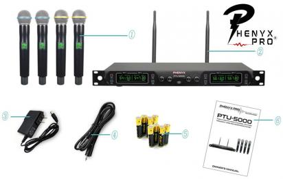 Phenyx Pro PTU-5000A - 4 Channel UHF Handheld Wireless Microphone System
