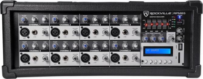 Rockville RPM85 8-Channel 2400w Powered Mixer