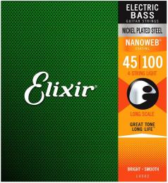 Elixir Nickel-Plated Steel Nanoweb Coating Light Bass Guitar Strings