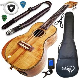 Lohanu Spalted Maple Acoustic-Electric Ukulele Concert