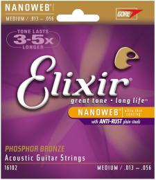 Elixir Strings Nanoweb Phosphor Bronze Medium Acoustic Guitar Strings