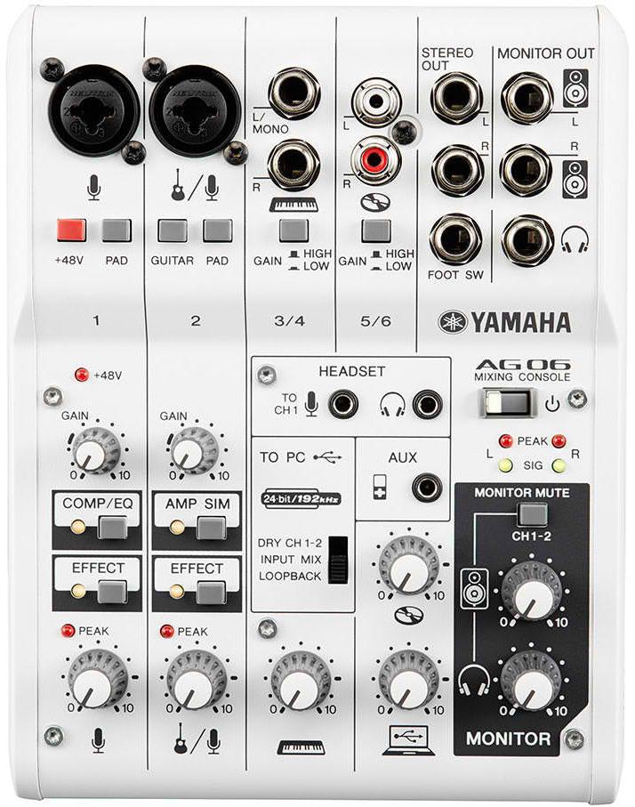 Yamaha AG06 6-Channel Mixer Audio Interface for iPad / Mac / PC